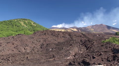 Southern flank of Mount Etna with lateral cones and lava scoriae. Stock Footage