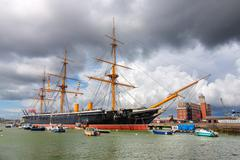 Portsmouth, uk -august 14:  hms warrior, the first iron-clad battleship launc Stock Photos
