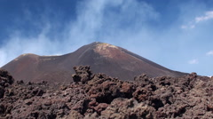 Lateral cones and lava scoriae of Mount Etna. Sicily Stock Footage