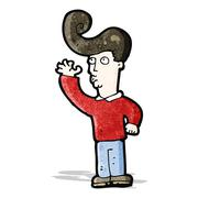 Stock Illustration of cartoon man with fashion hairstyle