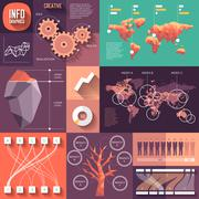 infographics of flat design with long shadows - stock illustration