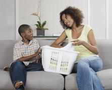 Mother and Son with Laundry Stock Photos