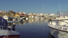 Boat floating in port Stock Footage