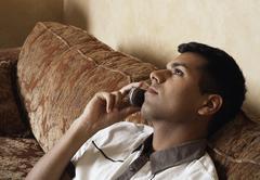 Man Using Cellular Telephone Stock Photos