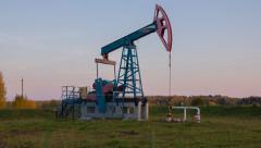 Oil pump (pumpjack) in Russia. Loopable. Stock Footage