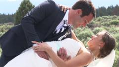 Cute Kiss from Newlyweds Stock Footage