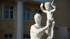 Statue of the Soviet era in a provincial Russian town. Stock Footage