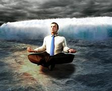 a serene businessman. the calm before the storm concept. - stock illustration