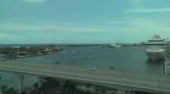Time Lapse Cars Crossing Bridge Overlooking Port Everglades Florida Stock Footage