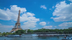 Eiffel Tower and Seine river Stock Footage