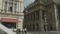 A Tram Passes the Prague National Theater Stock Footage