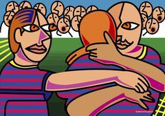 Illustration of Soccer Players Embracing Stock Illustration