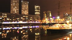 Nightly scene in Puerto Madero in Buenos Aires Stock Footage
