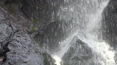 4k Waterfall schistous rocks closeup Stock Footage