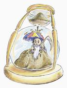 Father Time Trapped in Hourglass - stock illustration