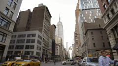 Empire State Building Manhattan New York City Taxis NYC Traffic 4K Stock Footage