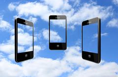 Three modern mobile phones on the sky Stock Illustration