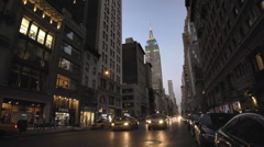 Empire State Building Manhattan Night New York City NYC Traffic 5th Ave Stock Footage