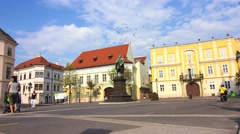 Timelapse of the Becsi Kapus square in Gyor Stock Footage