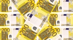 Animated background 200 Euro bills Stock Footage