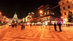 Timelapse of the Wenceslas square in Prague - stock footage