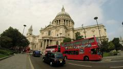 London Buses at St Paul's Cathedral Stock Footage