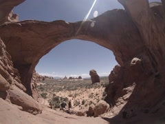 Utah Arches Busy Tourists, Fisheye 3k Time Lapse Stock Footage