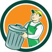 Stock Illustration of garbage collector carrying bin circle cartoon