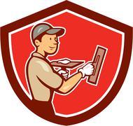 plasterer masonry worker shield cartoon - stock illustration