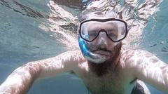 POV man snorkling Stock Footage
