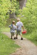 Boys Going Fishing Stock Photos