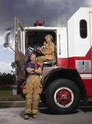 Firefighters and Fire Truck Stock Photos
