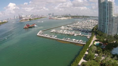 Miami Beach marina aerial view Stock Footage