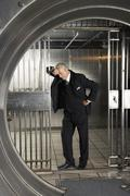 Man in Bank Vault Stock Photos