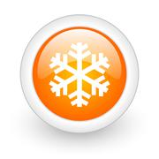 snow orange glossy web icon on white background. - stock illustration