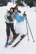 Mother and Son on Ski Hill, Whistler, British Columbia, Canada Stock Photos