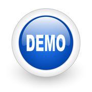 demo blue glossy icon on white background. - stock illustration