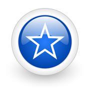 star blue glossy icon on white background. - stock illustration