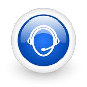 Customer service blue glossy icon on white background. Stock Illustration