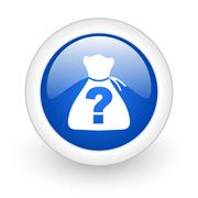 Riddle blue glossy icon on white background. Stock Illustration