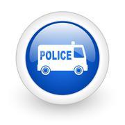 police blue glossy icon on white background. - stock illustration