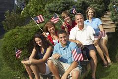 Family Celebrating the 4th of July, Belgrade Lakes, Maine, USA Stock Photos