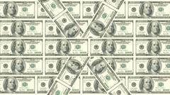 Animated background 100 Doolar bills 03 Stock Footage