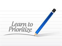 Learn to prioritize message illustration design Stock Illustration