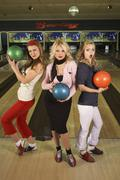 Portrait of Women Bowling Stock Photos