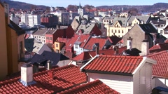 Stock Video Footage of A view over the crooked rooftops of Bergen, Norway.