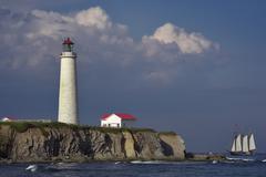 Cap-Des-Rosiers Lighthouse, Gaspe Peninsula, Quebec, Canada - stock photo