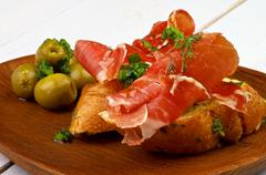 jamon tapas - stock photo