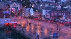 Bergen Norway at night. Stock Footage
