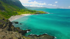 Beautiful Hawaii Cove Beach With Clear Blue Waters Stock Footage